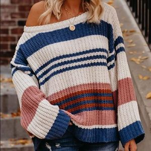 Chenille Striped Sweater - Blue